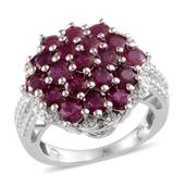 Ruby, Diamond Platinum Over Sterling Silver Ring (Size 8.0) TGW 4.51 cts.