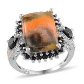 Bumble Bee Jasper (Cush 7.35 Ct), Thai Black Spinel, Diamond Ring in Platinum Overlay Sterling Silver Nickel Free (Size 8) TDiaWt 0.020Cts., TGW 9.65 Cts.