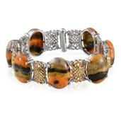 Bumble Bee Jasper 14K YG and Platinum Over Sterling Silver Bracelet (7.50 In) TGW 100.550 cts.