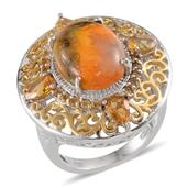 Bumble Bee Jasper, Brazilian Citrine 14K YG and Platinum Over Sterling Silver Ring (Size 7.0) TGW 7.650 cts.