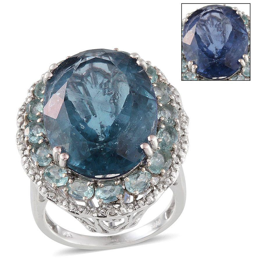 Color Change Fluorite, Multi Gemstone Platinum Over Sterling Silver Ring (Size 7.0) TDiaWt 0.03 cts, TGW 30.930 cts.