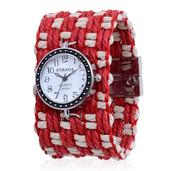 STRADA Japanese Movement Watch with Red and White Cotton Band and Stainless Steel Back (7.5 in)
