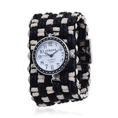 STRADA Japanese Movement Watch with Black and White Cotton Band and Stainless Steel Back (7.5 in)