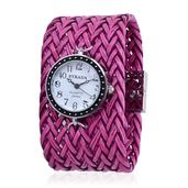 STRADA Japanese Movement Watch with Pink Woven Faux Leather Band and Stainless Steel Back (7.5 in)