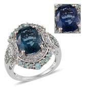 Color Change Fluorite, White Topaz, Madagascar Paraiba Apatite Platinum Over Sterling Silver Ring (Size 9.0) TGW 9.96 cts.