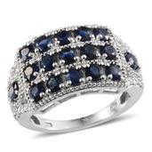 Kanchanaburi Blue Sapphire, Diamond Platinum Over Sterling Silver Ring (Size 8.0) TDiaWt 0.01 cts, TGW 3.410 cts.
