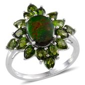 Canadian Ammolite, Russian Diopside Platinum Over Sterling Silver Ring (Size 7.0) TGW 5.100 cts.