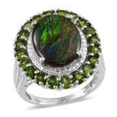 Canadian Ammolite, Russian Diopside, Diamond Platinum Over Sterling Silver Ring (Size 8.0) , TDiaWt 0.03 cts, TGW 7.330 cts.