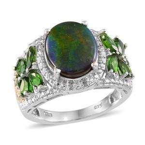 Canadian Ammolite, Russian Diopside, Diamond 14K YG and Platinum Over Sterling Silver Ring (Size 7.0) , TDiaWt 0.02 cts, TGW 4.564 cts.