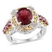 Niassa Ruby, White Topaz 14K YG and Platinum Over Sterling Silver Ring (Size 7.0) TGW 5.330 cts.