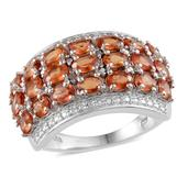Orange Sapphire, Diamond Platinum Over Sterling Silver Ring (Size 7.0) TDiaWt 0.02 cts, TGW 4.020 cts.