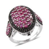Ruby, Thai Black Spinel Platinum Over Sterling Silver Chic Cluster Ring (Size 7.0) TGW 3.770 cts.