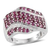 Ruby (Rnd), Diamond Ring in Platinum Overlay Sterling Silver Nickel Free (Size 7) TDiaWt 0.010Cts., TGW 2.91 Cts.