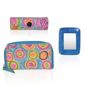 Blue Leather Mirror, Small Wallet and Lipstick Case Set