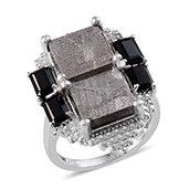 Marvelous Meteorites, Thai Black Spinel, Diamond Platinum Over Sterling Silver Ring (Size 7.0) TGW 22.73 cts.