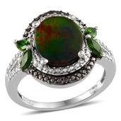 Canadian Ammolite, Russian Diopside, Black Diamond, Diamond Platinum Over Sterling Silver Ring (Size 9.0) TDiaWt 0.03 cts, TGW 3.650 cts.