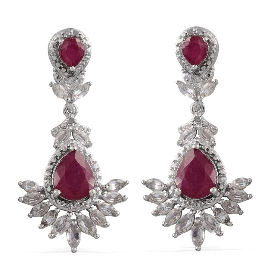 Niassa Ruby, White Topaz, Diamond Platinum Over Sterling Silver Earrings TDiaWt 0.08 cts, TGW 11.730 cts.