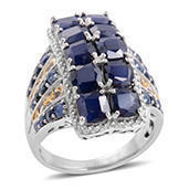 Kanchanaburi Blue Sapphire 14K YG Over and Sterling Silver Ring (Size 6.0) TGW 8.640 cts.