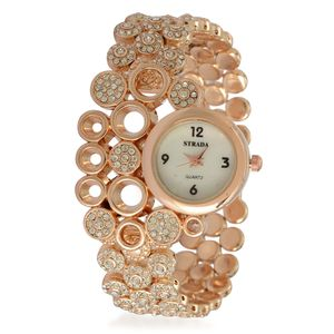 STRADA Austrian Crystal Elegant Japanese Movement Watch in Rosetone with Stainless Steel Back (8 In)