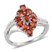 Orange Sapphire Platinum Over Sterling Silver Ring (Size 6.0) TGW 2.20 cts.