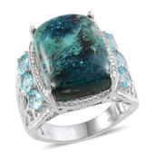 Table Mountain Shadowkite, Madagascar Paraiba Apatite, Diamond Platinum Over Sterling Silver Ring (Size 10.0) TDiaWt 0.01 cts, TGW 20.410 cts.