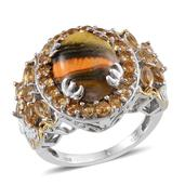 Bumble Bee Jasper, Brazilian Citrine, Diamond Accent Platinum Over Sterling Silver Ring (Size 7.0) TGW 10.82 cts.