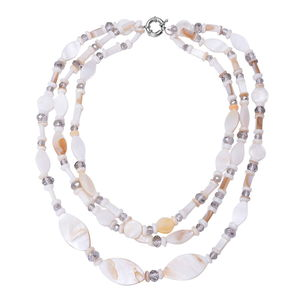 White Shell, Glass Silvertone Triple Strand Drape Necklace (18 in)