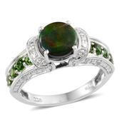 Canadian Ammolite, Russian Diopside, Diamond Platinum Over Sterling Silver Ring (Size 8.0) TDiaWt 0.05 cts, TGW 2.150 cts.