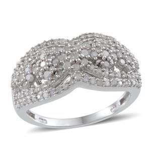 Diamond Platinum Over Sterling Silver Ring (Size 7.0) TDiaWt 1.05 cts, TGW 1.045 cts.
