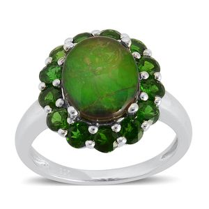 Canadian Ammolite, Russian Diopside Sterling Silver Ring (Size 10.0) TGW 4.600 cts.