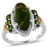 Canadian Ammolite, Russian Diopside 14K YG and Platinum Over Sterling Silver Ring (Size 9.0) TGW 4.000 cts.