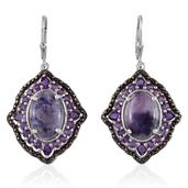 Sierra Madre Purple Opal, Amethyst, Black Diamond Platinum Over Sterling Silver Lever Back Earrings TDiaWt 0.02 cts, TGW 11.780 cts.