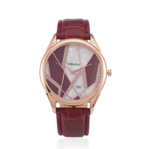 STRADA Austrian Crystal Japanese Movement Watch With Red Band and Stainless Steel Back