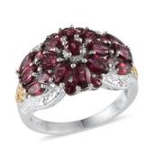 Orissa Rhodolite Garnet, Diamond 14K YG and Platinum Over Sterling Silver Ring (Size 7.0) TDiaWt 0.03 cts, TGW 5.550 cts.