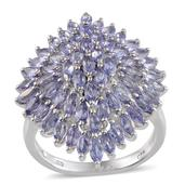Tanzanite Platinum Over Sterling Silver Ring (Size 7.0) TGW 4.75 cts.