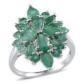 Kagem Zambian Emerald Platinum Over Sterling Silver Ring (Size 9.0) TGW 3.900 cts.