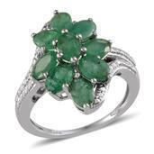Kagem Zambian Emerald Platinum Over Sterling Silver Ring (Size 9.0) TGW 3.600 cts.
