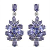 Tanzanite Platinum Over Sterling Silver Earrings TGW 5.00 Cts.