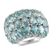 Madagascar Paraiba Apatite Platinum Over Sterling Silver Ring (Size 7.0) TGW 10.350 cts.