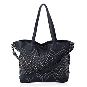 J Francis - Black Faux Leather Tote (14x5x13 in)