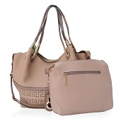 Lifestyle Must Have J Francis - Khaki Faux Leather Handbag (19x5x11 in)