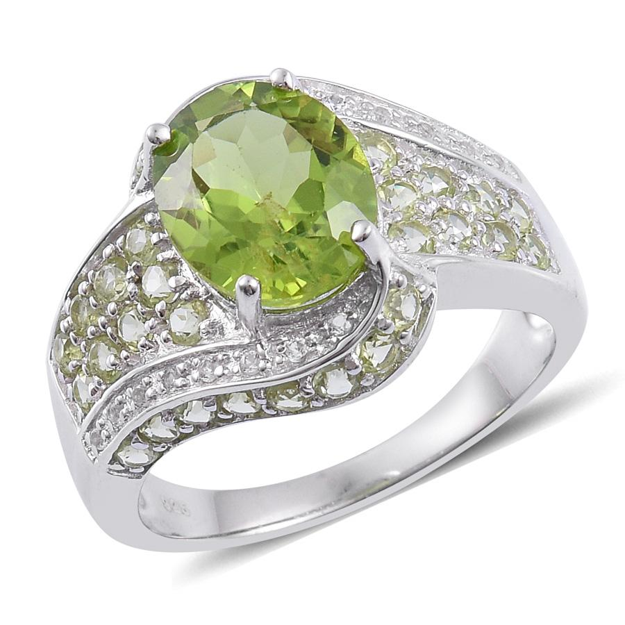 Hebei Peridot (Ovl 3.75 Ct), White Topaz Ring in Sterling Silver Nickel Free (Size 7) TGW 5.15 Cts.
