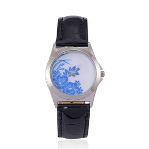 STRADA Japanese Movement Blue Floral Face Watch with Black Band and Stainless Steel Back