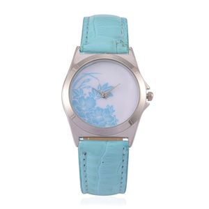 STRADA Japanese Movement Baby Blue Floral Face Watchwith Blue Band and Stainless Steel Back
