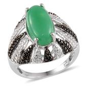 Australian Chrysoprase, Green Diamond Platinum Over Sterling Silver Ring (Size 10.0) TDiaWt 0.04 cts, TGW 5.890 cts.