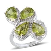 Hebei Peridot (Pear) Ring in Platinum Overlay Sterling Silver Nickel Free (Size 8.0) TGW 6.75 Cts.
