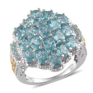 Madagascar Paraiba Apatite 14K YG and Platinum Over Sterling Silver Ring (Size 6.0) TGW 6.900 cts.