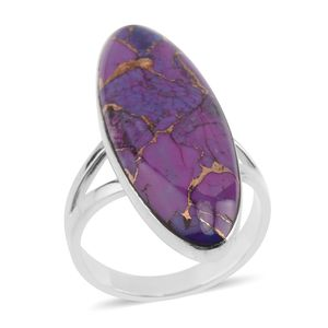 Santa Fe Style Mojave Purple Turquoise Sterling Silver Elongated Split Ring (Size 7.0) TGW 34.99 cts.