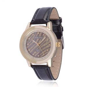 STRADA Austrian Crystal Japanese Movement Watch with Black Band and Stainless Steel Back