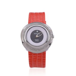 STRADA Austrian Crystal Curved Face Japanese Movement Watch with Red Band and Stainless Steel Back